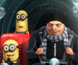 Gru and his minions at the controls of the spacecraft puzzle