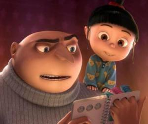 Gru, the villain reading a story with the little girl Agnes puzzle