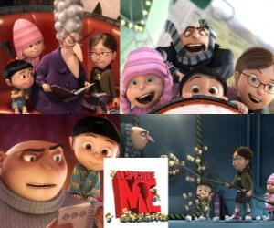 Gru with three girls named Margo, Edith and Agnes who see him as a potential father. puzzle