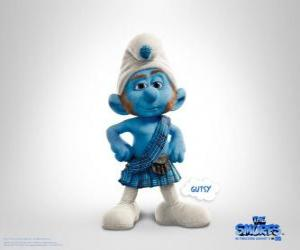 Gutsy Smurf is the one with more courage and act with great determination to risky situations puzzle