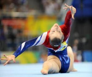 Gymnast performing the floor exercise puzzle