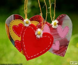 Hanging hearts puzzle