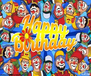 Happy Birthday with clowns puzzle