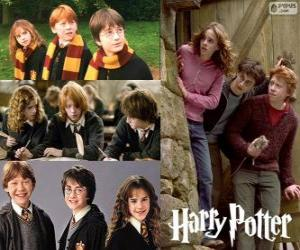 Harry Potter and his friends Ron and Hermione puzzle