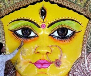 Head of the Durga goddess, one of the aspects of Parvati puzzle