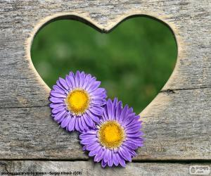 Heart and two flowers puzzle