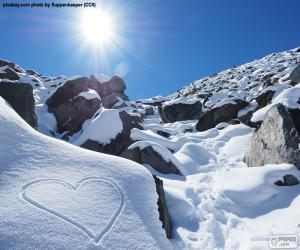 Heart in the snow puzzle