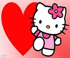 Hello Kitty with a big heart puzzle