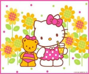 Hello Kitty with a drink in the countryside with her teddy bear Tiny Chum puzzle