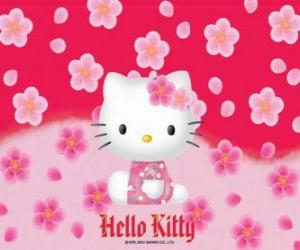 Hello Kitty with flowers puzzle