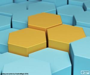 Hexagon, polygon with six edges puzzle