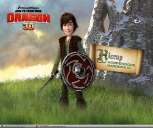 Hiccup Horrendous Haddock III, the brainy son of the viking chief, Stoick The vast puzzle