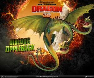 Hideous Zippleback, with two heads, is the largest dragon and one of the most dangerous  puzzle