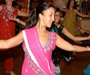 Hindu dancer in the festival of the lights, the Diwali puzzle