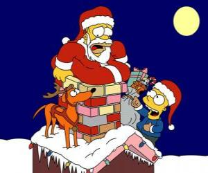 Homer and Bart Simpson help Santa Claus with gifts puzzle
