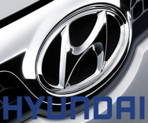 Hyundai logo, brand of cars in South Korea puzzle