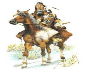 Indian warrior riding across puzzle