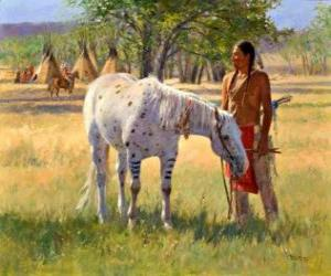 Indian warrior with his horse near the camp puzzle