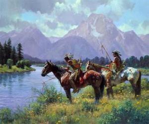 Indian warriors on horseback puzzle