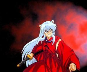Inuyasha, a half-fiend from feudal Japan where lives exciting adventures puzzle