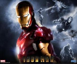 Iron Man has a very powerful armor that allows him to fly, it gives a superhuman strength and special weapons available puzzle