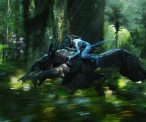 Jake riding a winged beast known as toruk, the most dangerous creature of Pandora. puzzle