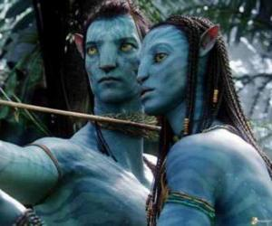 Jake's na'vi avatar and Neytiri ready to launch an arrow puzzle
