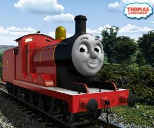 James, the splendid locomotive number 5 in red color puzzle
