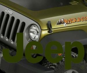 Jeep logo, off-road cars brand from the USA puzzle