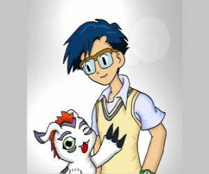 Joe Kido with his digimon Bukamon, Joe is the voice of reason within the group puzzle