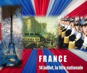 July 14, the French national holiday commemorating the storming of the Bastille on July 14, 1789 puzzle