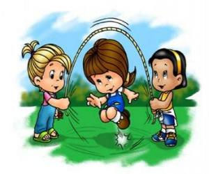 Jump rope, skipping rope or skip rope played by children puzzle