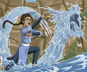 Katara is a powerful water - bender that accompanies Aang with his brother Sokka puzzle