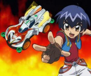 Kazuya launching the car in a race puzzle