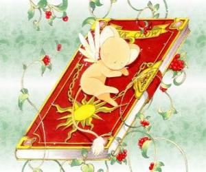 Kero comes out from the mysterious book The Clow puzzle