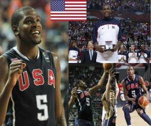 Kevin Durant the Most Valuable Player award at the 2010 FIBA World Championship  puzzle