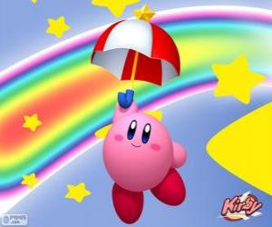 Kirby with an umbrella flying among the stars and the rainbow puzzle