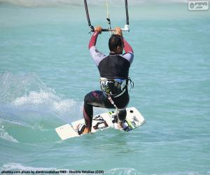 Kitesurfing or kiteboarding puzzle