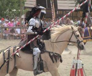 Knight in armor and with his spear ready mounted on his horse also protected with armor puzzle