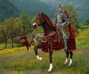 Knight with helmet and armor and with his spear ready mounted on his horse puzzle