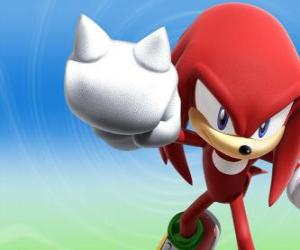 Knuckles the Echidna, rival and friend of Sonic puzzle
