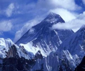 Landscape of high mountains with snowy peaks puzzle
