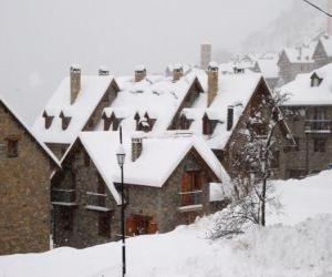 Landscape of small mountain village snow puzzle