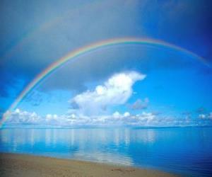 Landscape with rainbow puzzle