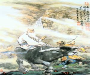 Laozi, Lao Tse or Lao-Tzu, philosofer of ancient China, central figure of Taoism, riding a buffalo puzzle