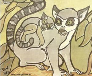 Lemur with her baby. Drawing of Julieta Vitali puzzle