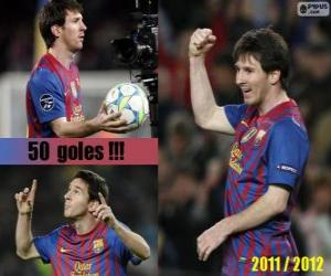 Leo Messi, top scorer in the history of the League Spanish, 2011-2012 puzzle