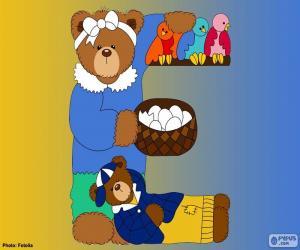 Letter E bear puzzle