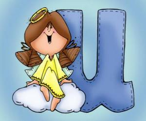 Letter U with an angel puzzle