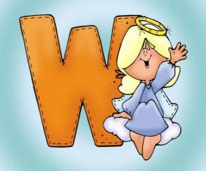 Letter W with an angel puzzle